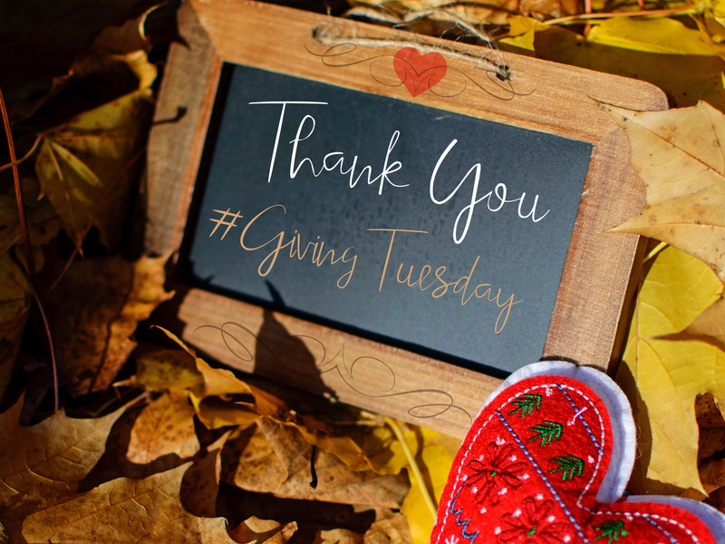 Thank You sign with hashtag giving Tuesday on a chalkboard
