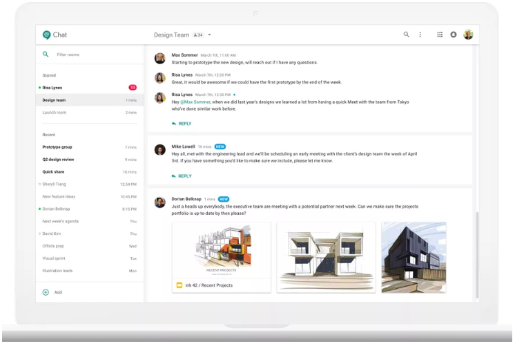 Hangouts Chat Main Channel view
