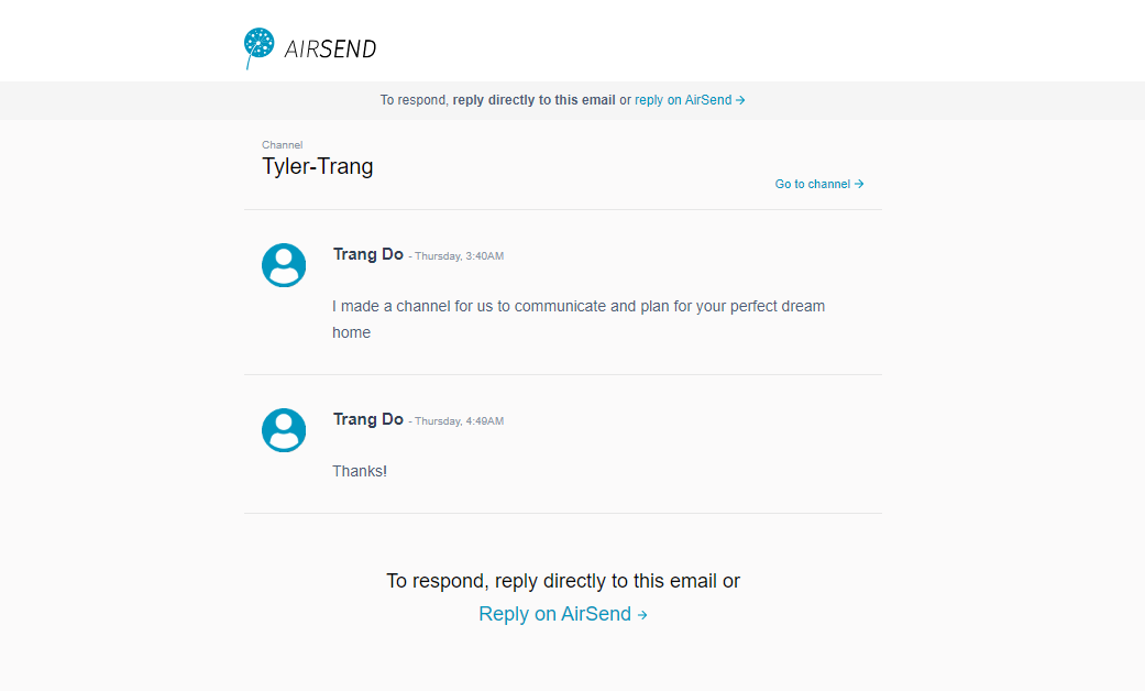 AirSend email channel notification