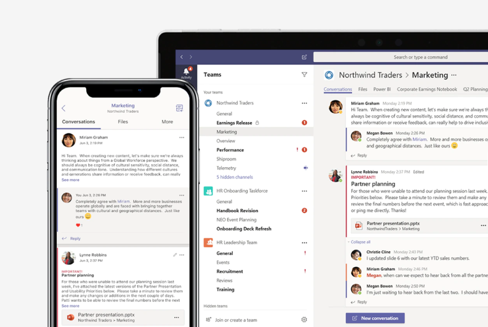 Promo image of Microsoft Teams on laptop and smart phone