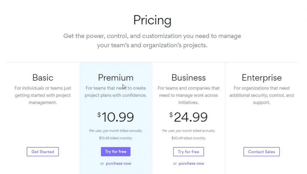 Asana pricing page