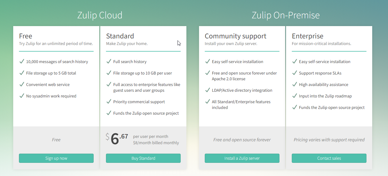 Zulip pricing page