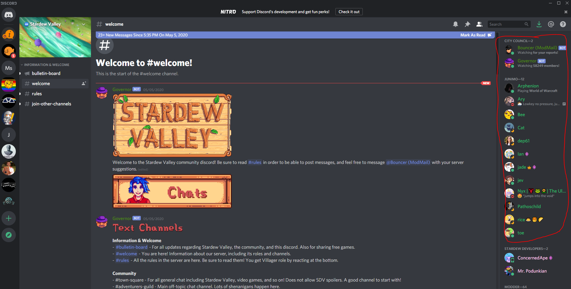 Discord channel view
