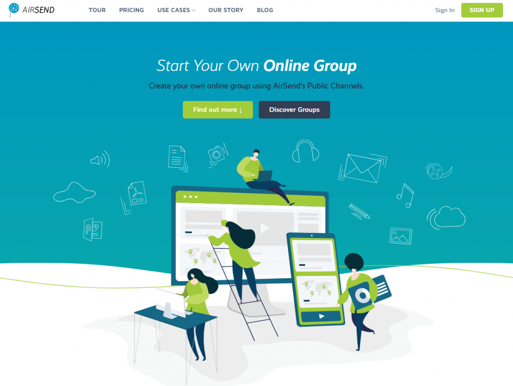 Image of AirSend discover page. AirSend discover page. Community page AirSend
