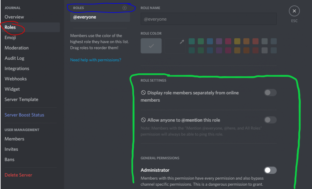 Image of Discord Roles setting. The red circle is the button you click to get to the current image. The blue circle is where you add roles to your community. The green circle is where you will see all the functions a role member can have.