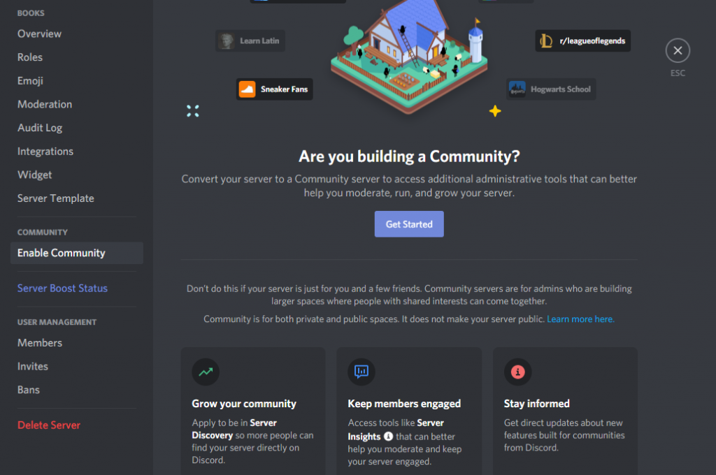 Image of Discord settings community