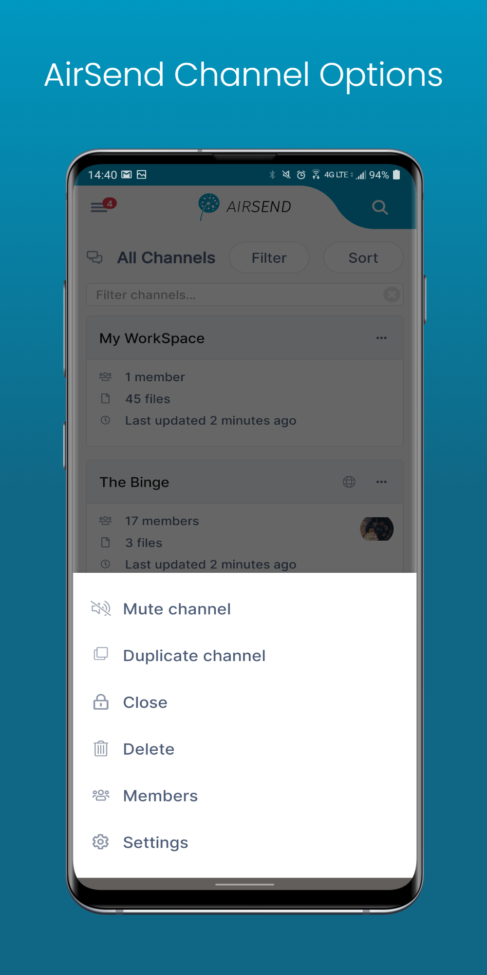 Image of AirSend Android Channel Options