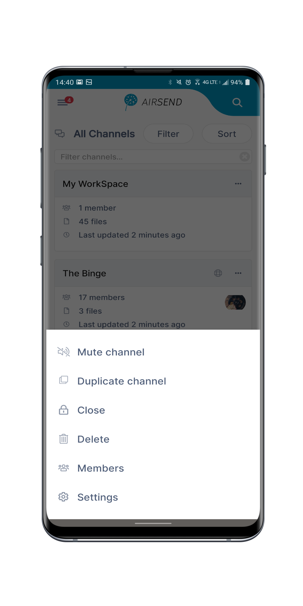 AirSend Android list of options