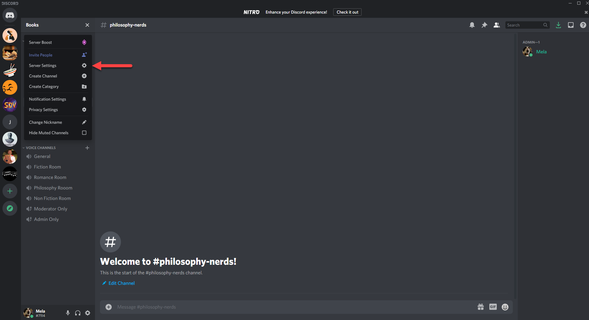 Image of Discord channel with a red arrow pointing to server settings.
